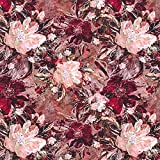 Felpa francesa Pintura de flores – burdeos — Mercancia al metro a partir de 0,5m — para coser de Sudaderas, Chándales y Ropa de dormir