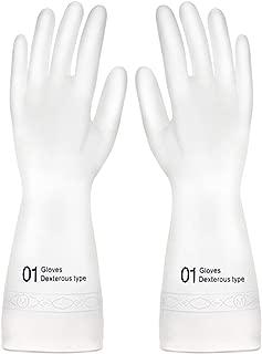 【HouseJoy】ゴム手袋 繰り返し利用 作業 キッチン 掃除 炊事 食器洗い 園芸 極薄 ホワイト (M)