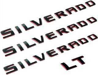 Yoaoo 3x OEM Silverado Nameplate Plus Lt Letter Emblems 3D Badge 1500 2500Hd 3500Hd Original Silverado Series Red Line Redline