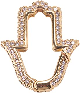 Airssory 2 Pcs Golden Paml Micro Pave Cubic Zirconia Spring Gate Rings Clasp Hand of Fatima Miriam Shape Snap Link Charm B...