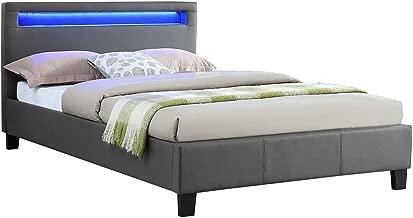 IDIMEX Lit Simple pour Adulte MIRANDO Couchage 120 x 190 cm avec sommier 1 Place et Demi pour 1 Personne, tête de lit avec LED intégrées, revêtement synthétique Gris