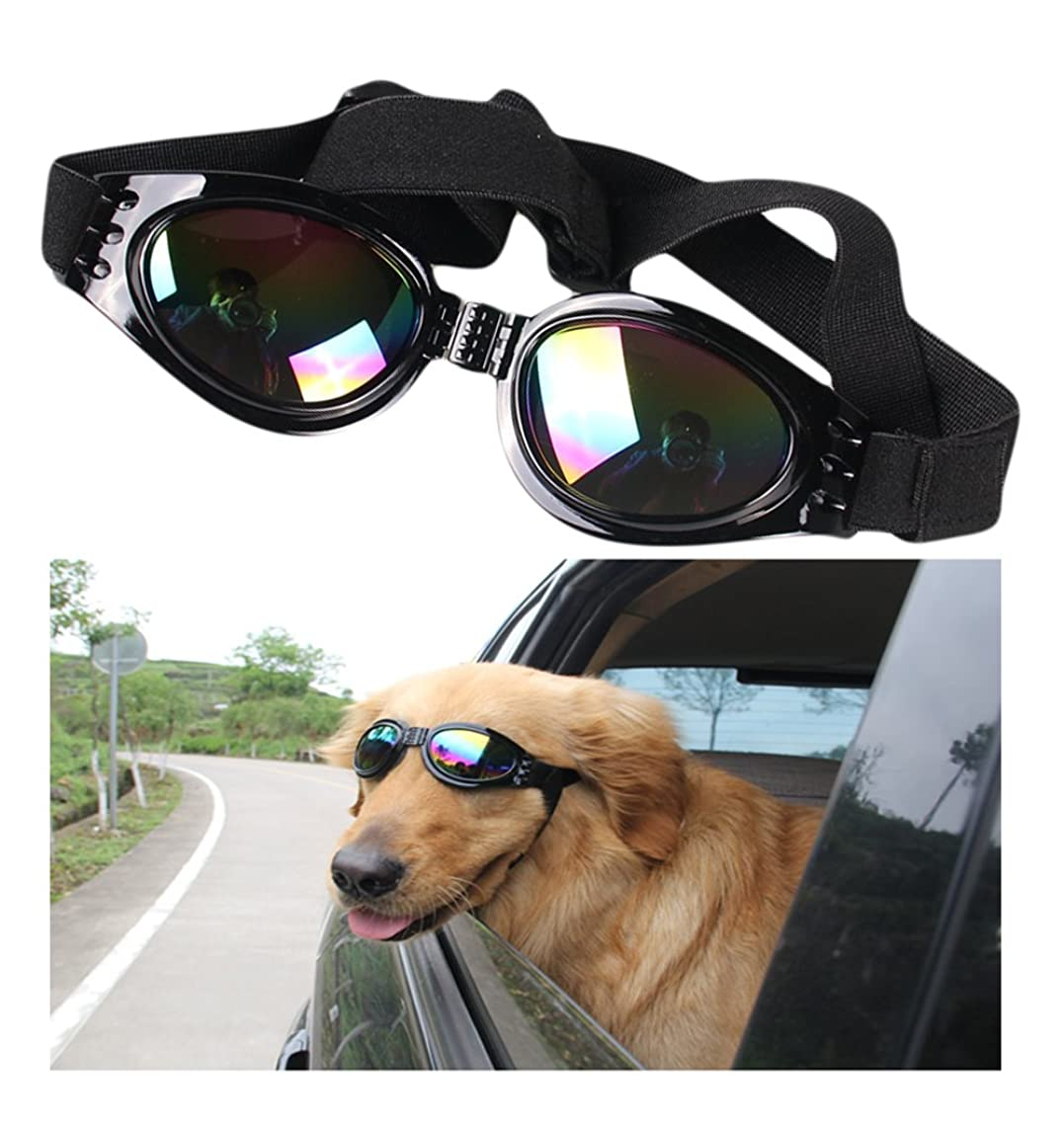 VANVENE Dog Sunglasses Pet Glasses Dog Glasses Dog UV Protective Foldable Sunglasses Dog Goggles Eye Wear Protection Waterproof Pet Sunglasses for Dogs About Over 15 lbs