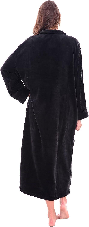Alexander Del Rossa Womens Zip Up Fleece Robe Warm Loose Sherpa Bathrobe