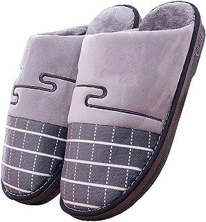 LQLD Hiver Coton pour Hommes Chaussons, Grande Taille Coton Non-Slip Fond Épais Chaussures Indoor Hommes avec Doux Sole,Gr...