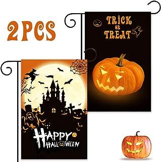 YBB 2 Pcs Halloween Burlap Garden Flag, Double Sided 12 x 18 Inch Happy Halloween Trick or Treat Pumpkin Outdoor Flags for Home Indoor Yard Lawn Halloween Decor