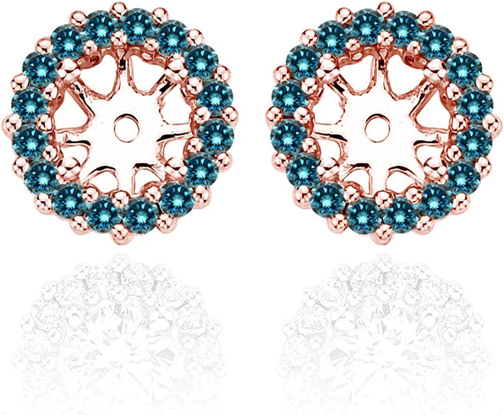 0.52 Carat Blue Diamond Earrings Jackets For 5.5 MM(1.50 Carat Total Weight) 14K Rose Gold Halo Stud Solitaire
