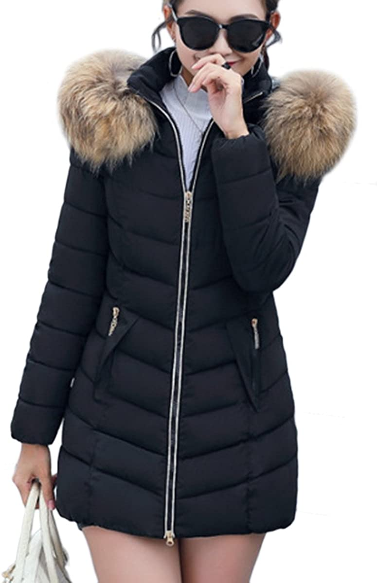 YMING Womens Winter Down Coat Hooded Parka Warm Outwear Quilted Jacket with Pockets