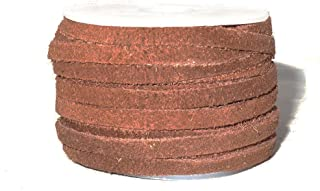 Genuine Suede Flat Leather Lace, Leather Cording for Jewelry & Crafts 4mm Red Brown, 10 Meters (10.93 Yards)