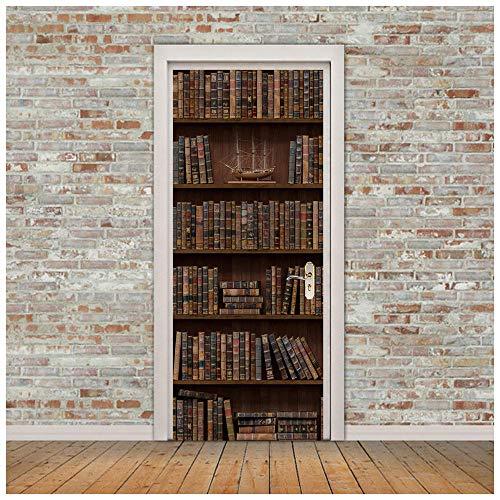 DRTTF TürPoster Türtapete Bücherregal selbstklebend Deko PVC Schaffen Sie eine schöne Umgebung wasserfest Rückstandslos wiederablösbar 77cm x 200cm