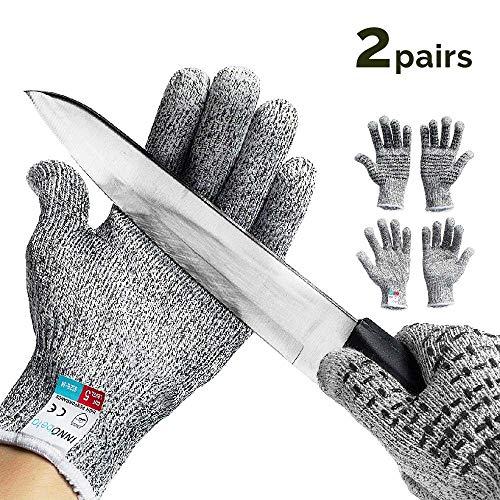 2 Paar Schnittschutzhandschuhe Arbeitshandschuhe lebensmittelecht schnittfeste Touchscreen Anti-Rutsch Grip-Hochleistung Level 5 Handschutz Schnittschutz, S für Kinder(L)