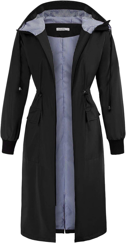 JASAMBAC Women's Long Rain Jacket Waterproof Lightweight Outdoor Trench Raincoat with Hood