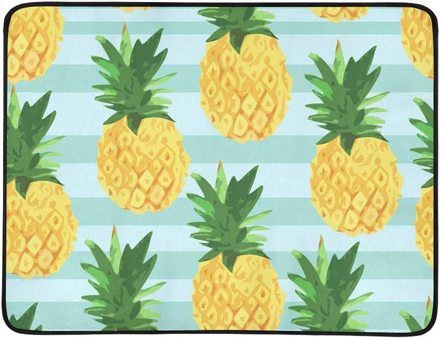 Pineapple Tropical Textile Print Portable and Foldable Blanket Mat 60x78 Inch Handy Mat for Camping Picnic Beach Indoor Outdoor Travel