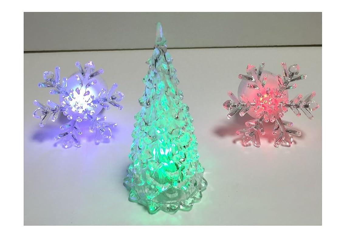 概して服を片付ける政策(バハギア) Bahagia (光る ミニ クリスマスツリー + 雪の結晶2個 セット) 3パッケージ LED クリスタル 7色変色 イルミネーション カラフル ツリー オーナメント 装飾 グッズ インテリア レイアウト 手のひらサイズ レインボー オーナメント パーティー イベント クリスマス 花 雪 hsb-xsled02