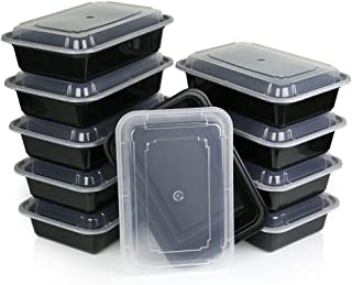 ChefLand One Compartment Microwavable Plastic Food Container with Lid Bento Box, Meal Prep Food Containers, Food Storage and Portion Control, Takeaway boxes Black, 10-Pack