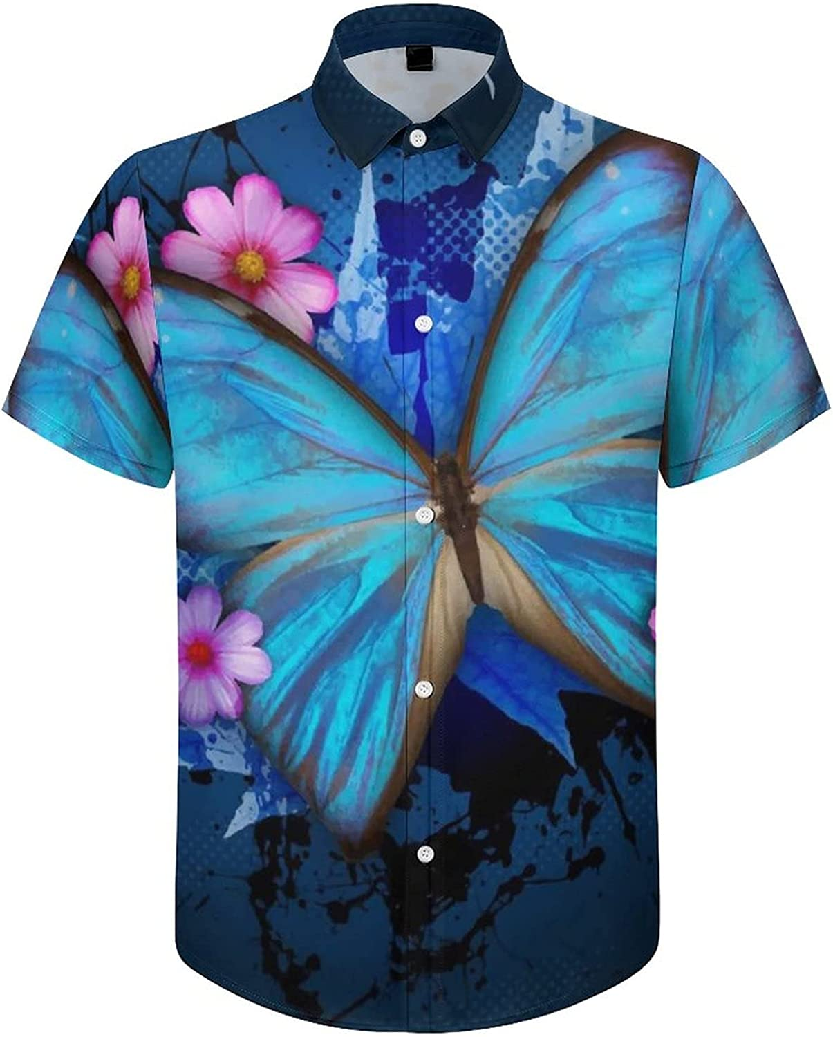 Men's Regular-Fit Short-Sleeve Printed Party Holiday Shirt Blue Butterfly Pink Floral