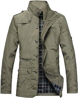 LANBAOSI Men's Lightweight Military Windbreaker Jacket Stand Collar Casual Coat