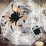 Bluelves Halloween Deko Set, Halloween Spinnennetz Spinngewebe, Halloween Dekoration Set Garten, Halloween Deko Aussen, Außendekoration Riesenspinne, für Outdoor Party Garten Gartendekoration