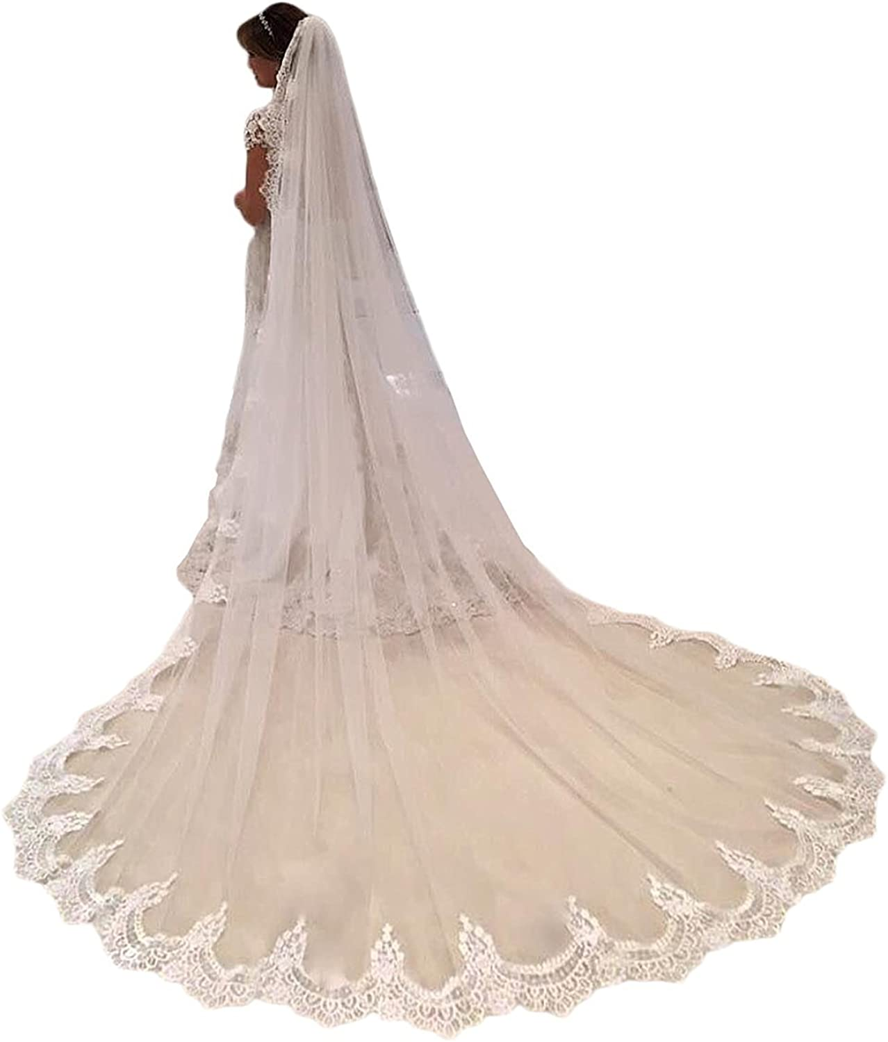 yeoyaw Bridal 1T Wedding Veils White Ivory Lace Women Veil 3 Meters for Cathedral Wedding