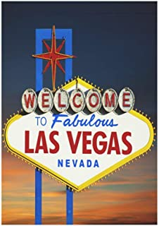 Pingshoes Famous Las Vegas Welcome Sign Polyester Garden Flag Outdoor Banner 12 x 18 inch, American USA Decorative Large House Flags for Party Yard Home Decor