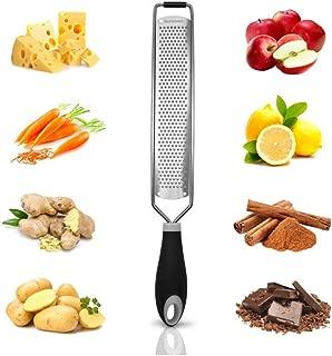 Cheese Grater Handheld Citrus Zester for Chocolate, Vegetables, Fruits 18/10 Lemon Zester for Kitchen, Black (Wide)