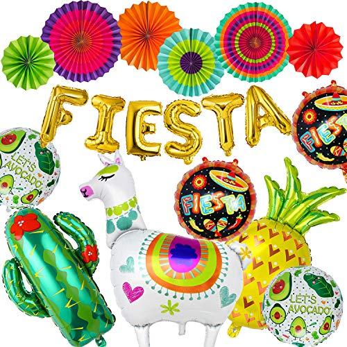 PHOGARY 19 Piezas Fiestas Mexicano Decoración Kits: Globos de Llama, Cactus, Letras de Fiesta, piña, Aguacate con Ventiladores de Papel Colgantes - Suministros para Fiesta