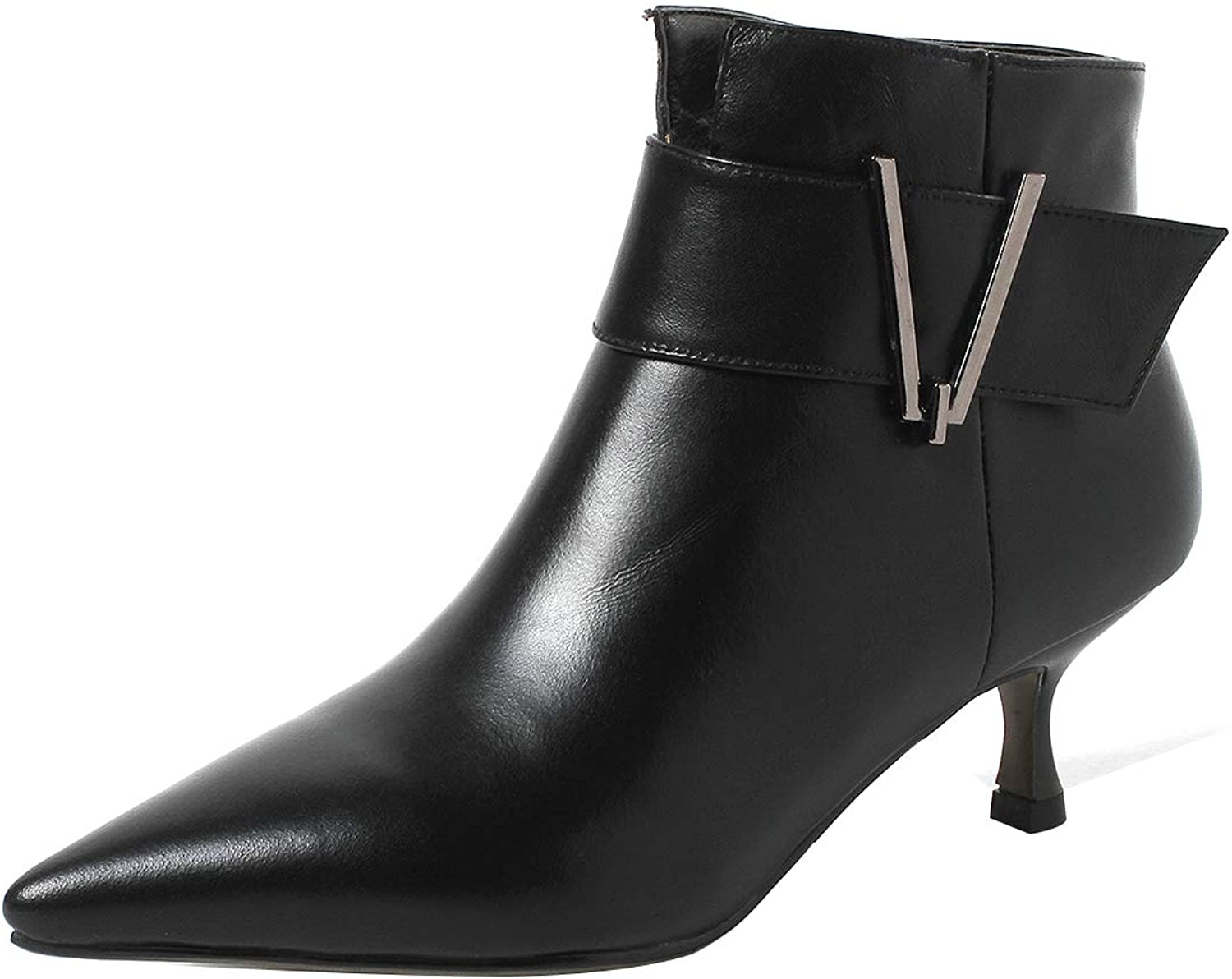 Eithy Women's Shadd Stiletto Ankle-high Zipper Leather Boots