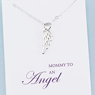 Mommy to an Angel • Mother's Remembrance Necklace • Sterling Silver • Tiny Wing Charm • Child Memorial Jewelry