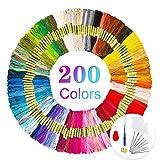 opamoo Stickgarn, Embroidery Floss 200 Farben Weicher Baumwolle Kreuzstich Set Stickerei Perfekt...
