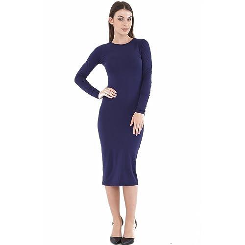Womens Ladies Celebrity Inspired Long Sleeve Bodycon Midi Calf Length Dress  Plus Size UK 8- 22ffbab7bbd1
