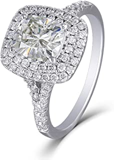 DOVEGGS Platinum Plated Silver Center 1.5ct 6X7mm Cushion Cut I Color Yellow Tinted Double Halo Moissanite Engagement Rings for Women