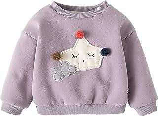 Milkiwai 女の子 プルオーバー パーカー 裏起毛 長袖Tシャツ トップス ベビーウェア 子供服 春秋 綿 size 80 (パープル)