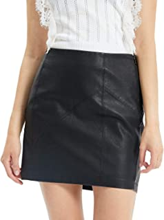 Fahsyee Womens Leather Skirt, Bodycon Faux Mini High Waist Sexy Casual Zip PU Slim Pencil Plus Size