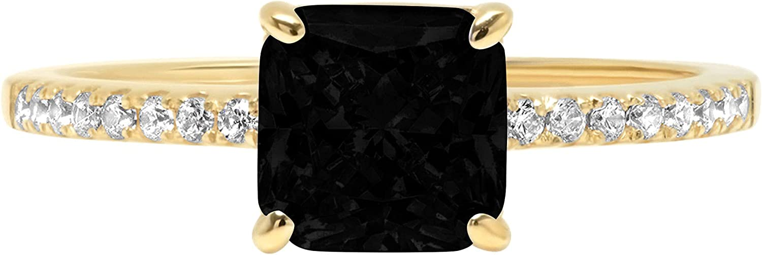 1.63ct Brilliant Asscher Cut Solitaire with Accent Flawless Natural Black Onyx Gemstone VVS1 Designer Modern Statement Ring Solid 14k Yellow Gold Clara Pucci