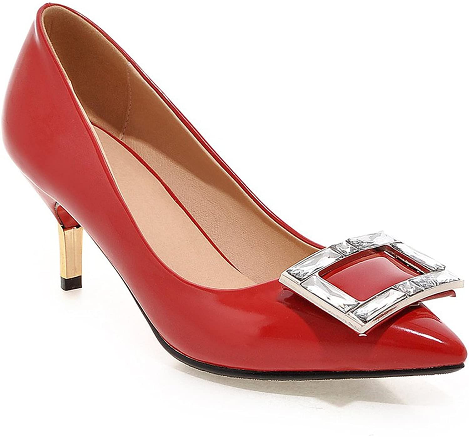 MINIVOG Women's Square Buckle Pointed Toe Patent High Pump shoes