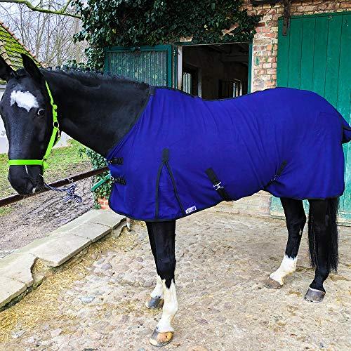 Abschwitzdecke mit Kreuzgurt für Pferde, Ponys – Atmungsaktive Pferdedecke aus Fleece – für schnelles Trocknen & Wärmen (Navyblau, 115 cm)