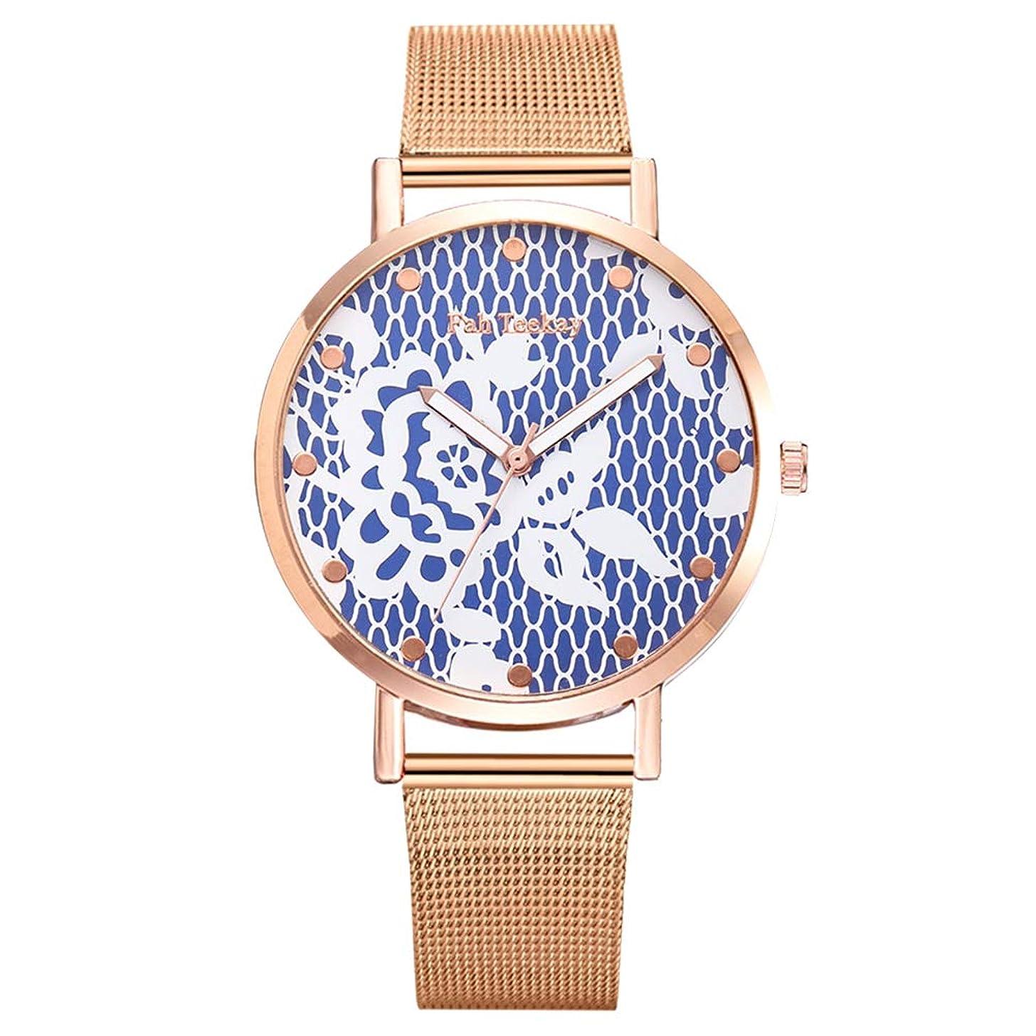 lightclub Fashion Women Flower Print No Numbers Mesh Band Analog Quartz Wrist Watch Gift for Women Men Blue
