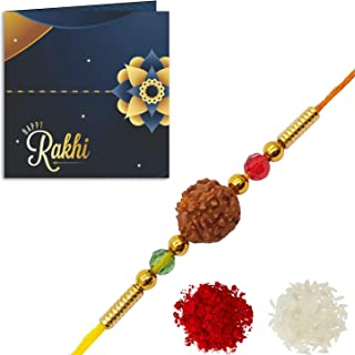YouBella Rakhi and Greeting Card Combo for Brother (Multi-Colour) (YBRK_74)