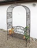 DanDiBo Rosenbogen mit Bank 120852 aus Metall 250 cm Gartenbank Spalier Pergola Kletterhilfe