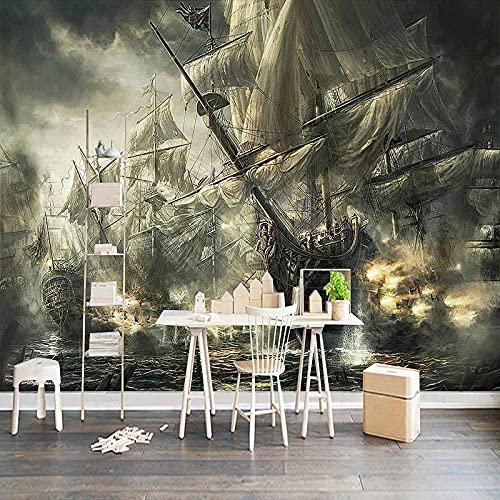 Fotomurales Mural 3D Retro Nostálgico Barco Pirata Pintura Al Óleo Bar Ktv Sala De Estudio Sala De Estar Tv Fondo Papel Tapiz Seda 300X210Cm