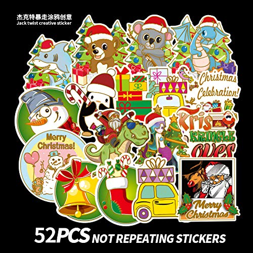 Hot Stempelen Kerstmis Stickers 52 Waterdichte Kerstman Window Stickers Cartoon Koffer Stickers