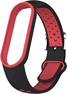 Band 5 4 3 Sportriem Vervanging Polsband Miband 3 4 Band5 Armband Polsriem voor Xiaomi Mi Band 4 5 3 (Color : Black red, S...