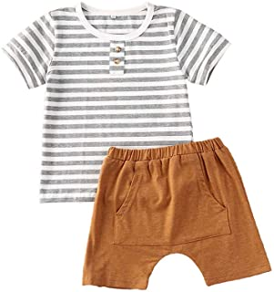 Sponsored Ad - Newborn Infant Baby Cartoon Animal Striped Clothes,Fall Girl Boy Long Sleeve Tops+Pants 2Pcs Outfits Set