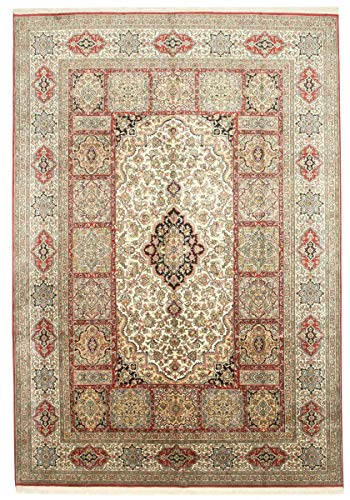 Nain Trading Kaschmir Reine Seide 310x220 Orientteppich Teppich Beige/Braun Handgeknüpft Indien