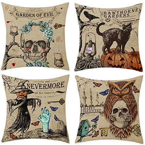 Bonsai Tree Halloween Pillow Covers 18x18, Pumpkin Trick Or Treat Decorative Throw Pillow Covers Set of 4, Vintage Scary Black Cat Skull Linen Couch Cushion Cases Home Decorations Clearance for Sofa