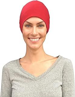 Comfort and Courage Premium Chemo Sleep Cap Hat Liner Cancer Headwear - 100% USA Organic Cotton (Medium/Large Red)