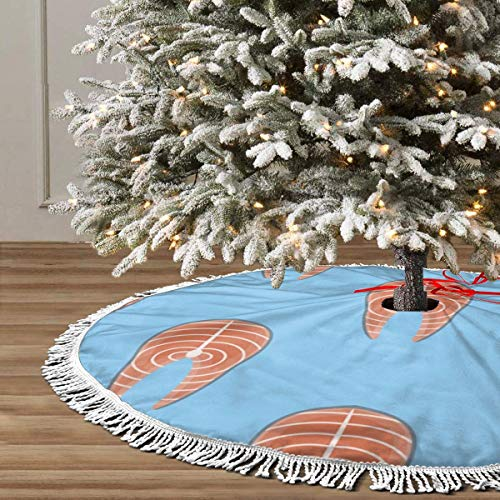 Goohha Christmas Tree Skirt Salmon Steak On Blue Christmas Mat Base Cover for Merry Christmas Decor & New Year Party Holiday Home Decorations 30 Inch