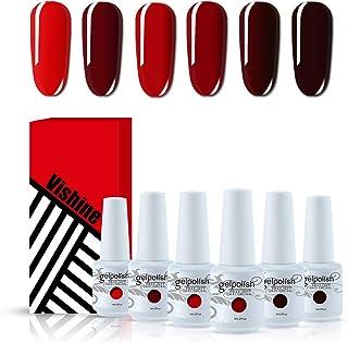 Vishine Red Colors Collection Gel Polish Set- Pack of 6 Colors Shine Finish and Long Lasting, Soak Off UV LED Gel 8ml/Pcs Gift Set