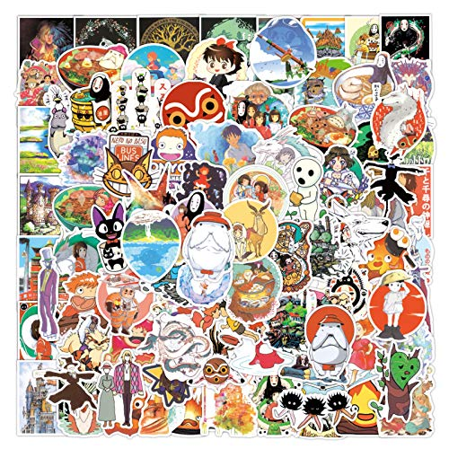 Studio Ghibli Stickers| 100 Pcak |Miyazaki Hayao Animation Vinyl Waterproof Stickers for Laptop,Bumper,Water Bottles,Computer,Phone,Hard hat,Car Stickers and Decals, Teens Stickers for Kids