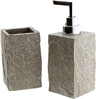 Cuco´S Nest Set de Baño de 2 Piezas Mod. Stone 2. Conjunto de Accesorios de sobreponer de 2 Elementos Fabricados con Resina