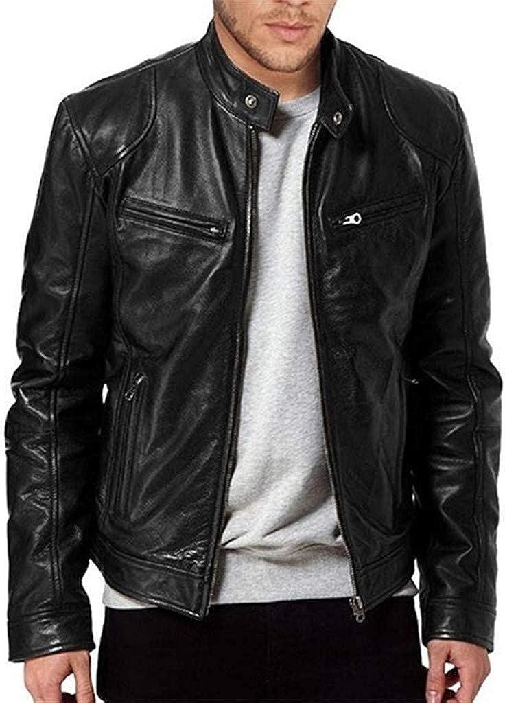 Mens Fashion Jacket Slim Fit Stand Collar PU Jacket Male Anti-wind Motorcycle Lapel Diagonal Zipper Jackets